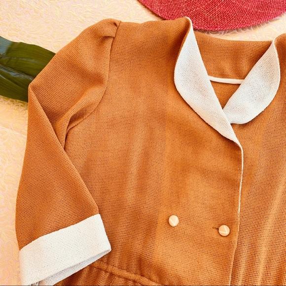 Vintage Dresses & Skirts - Vintage 80s Mustard Cream Wiggle Midi Dress S M